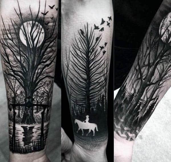 Horse Riding Wrist Black Ink Negative Space Tattoo
