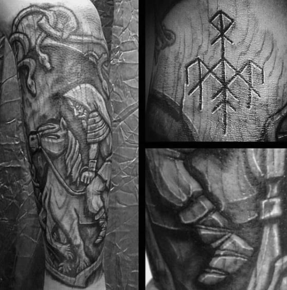 Horserider Norse Wood Carving Mens Forearm Sleeve Tattoo
