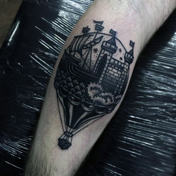 Hot Air Ballon Castle Tattoo Design For Men On Forearm