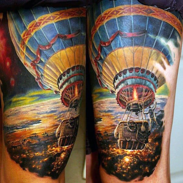 Hot Air Ballon Guys Realistic Sky Tattoos On Thigh
