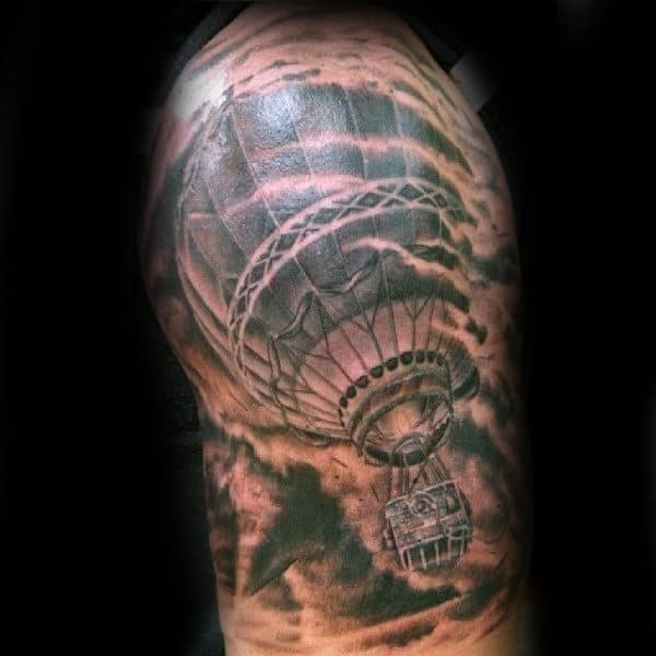 Hot Air Ballong Flying Through Tornado Mens Half Sleeve Tattoos