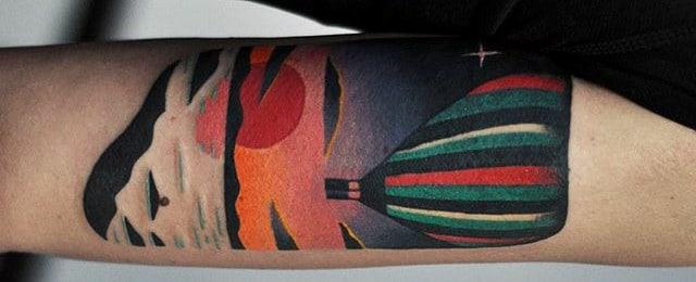Hot Air Balloon Tattoo Designs For Men