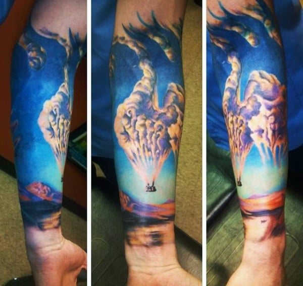 Hot Air Balloon With Clouds Mens Amazing Forearm Sleeve Tattoo Designs