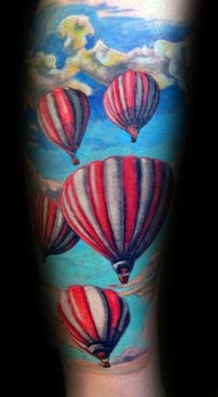 Hot Air Balloons Floating In Clouds Mens Forearm Sleeve Tattoos