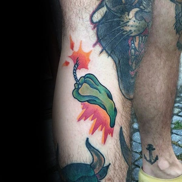 Hot Green Pepper Mens Small Colorful Leg Tattoo