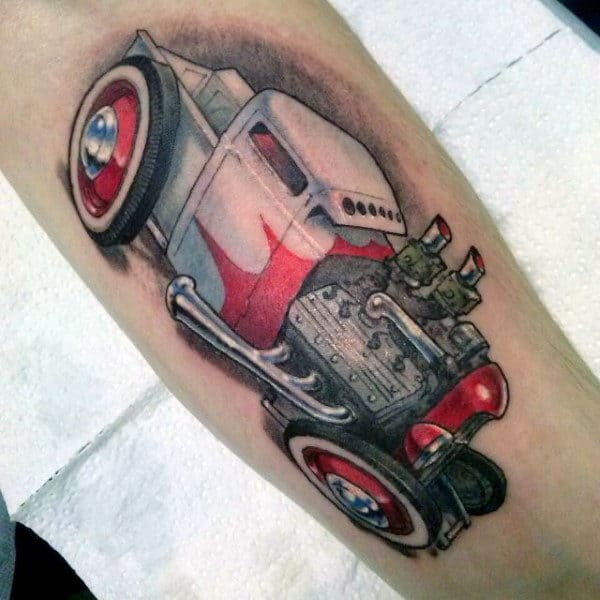 Hot Rod Red White Vehicle Tattoo Male Forearm