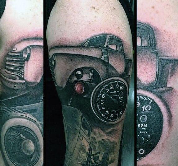 Hot Rod Truck Mens Arm Tattoos
