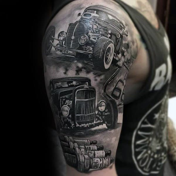 Hot Rods Insane Guys Half Sleeve Tattoos