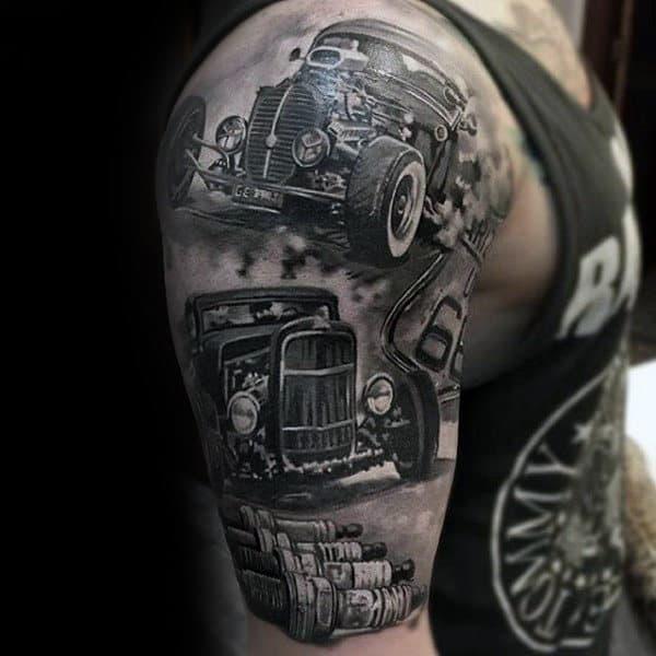 Hot Rods Insane Guys Half Sleeve Tattoos