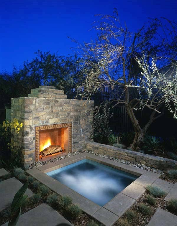 Hot Tub With Fireplace Outdoor Designs