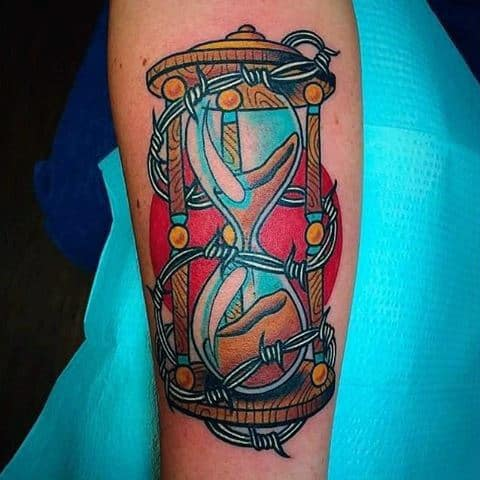 Hourglass Barbed Wire Neo Traditional Male Tattoos