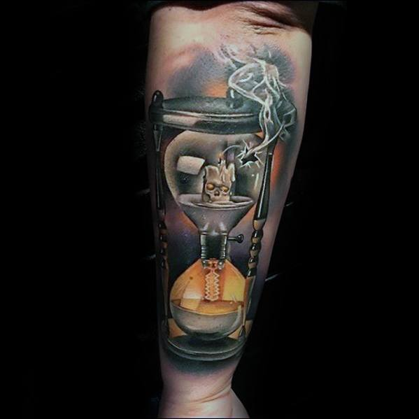 Hourglass Candle Outer Forearm Rad Tattoo Design Ideas For Male