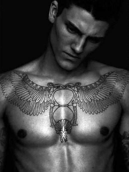 Hourglass Chest Tattoo For Men