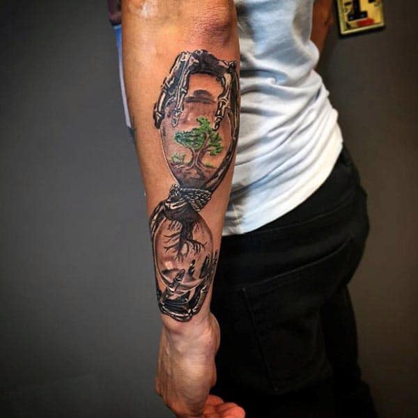 Hourglass Guys Tree Of Life Outer Forearm Tattoos