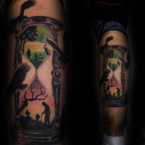 Hourglass Life Death Male Leg Tattoos
