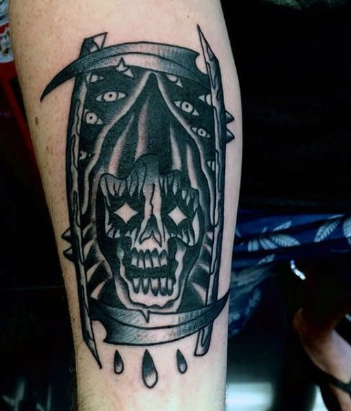 Hourglass Manly Cool Grim Reaper Tattoo