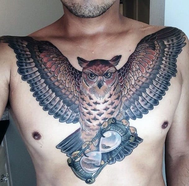 Hourglass Owl Guys Upper Chest And Shoulder Tattoo