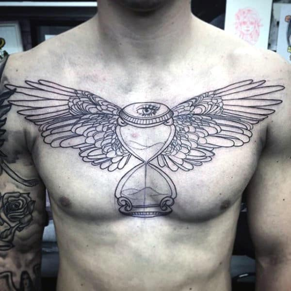 Hourglass Wing Tattoos On Chest For Males
