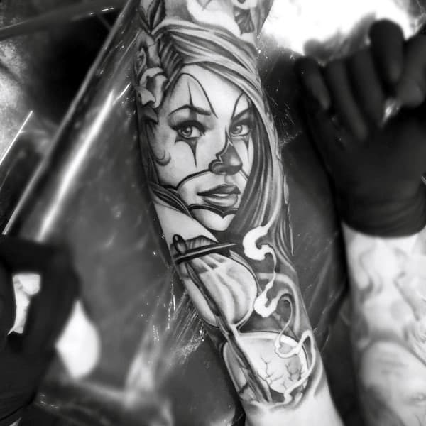 Hourglass With Portrait Cool Guys Chicano Inner Arm Tattoos