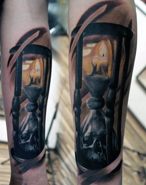 Hourglass With Skull Guys Realistic Forearm Tattoo