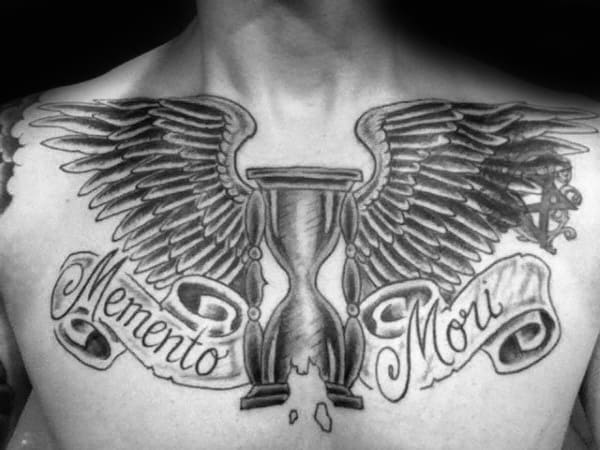 Hourglass With Wings Memento Mori Mens Upper Chest Tattoos