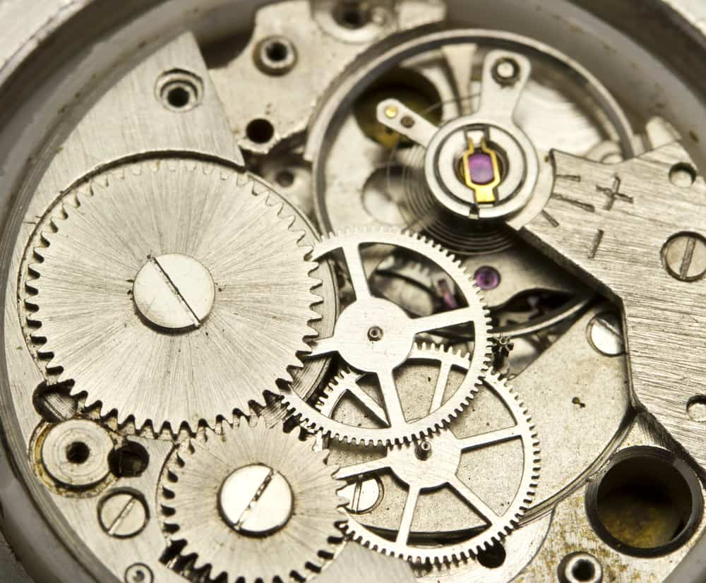 wrist watch hours mechanical parts close up
