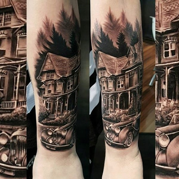 House Forearm Tree Mens Tattoos