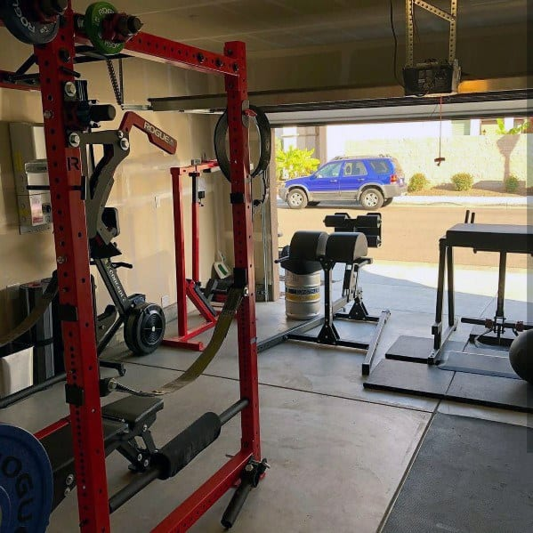 The fully equipped rogue garage gym is super nice go fitness great