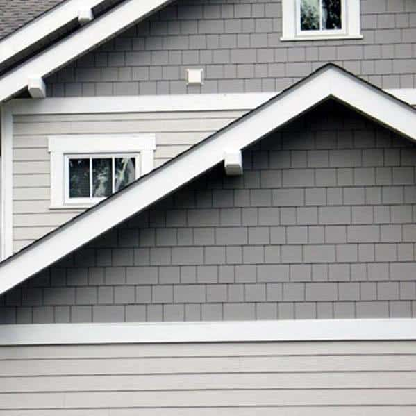 House House Siding Ideas Grey With White Trim Finish