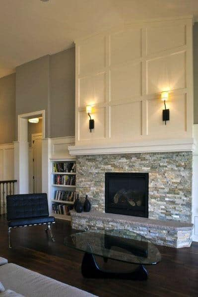 House Stacked Stone Fireplace Ideas