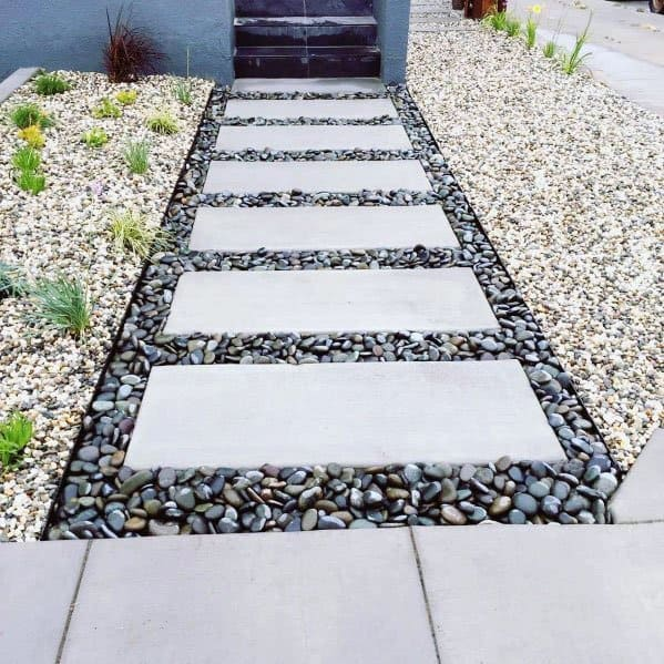 House Stepping Stone Ideas Contemporary River Rock