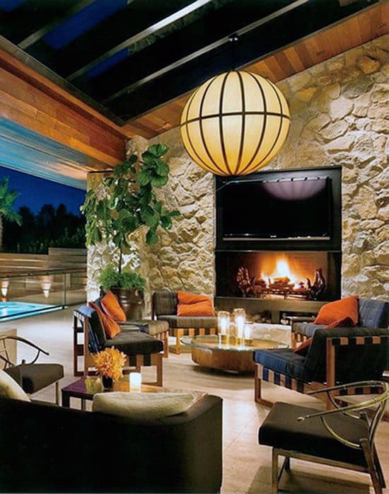 House With Open Walls And Outdoor Fireplace Patio