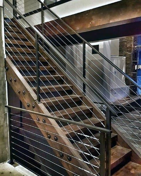 House Wood Rustic Staircase Ideas