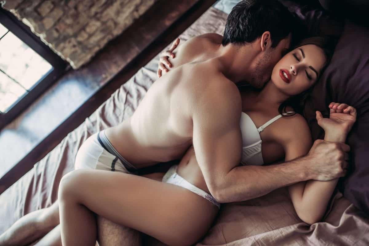 Schön, Leidenschaftlich, Paar, Ist, Haben, Sex, Auf, Bett., Mann, Ist