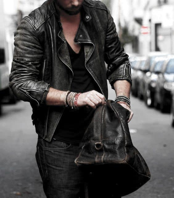 How To Wear A Leather Jacket Manly Leather Jacket Outfits Male Style Ideas Black V Neck Dark Denim Jeans