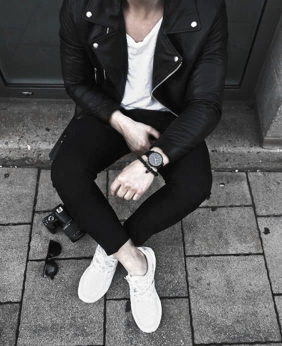 How To Wear A Leather Jacket Mens Black Leather Jacket Outfits Outfit Style Ideas White T Shirt And Shoes