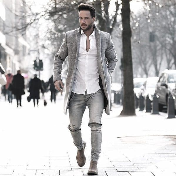 How To Wear Boots Outfits Style Looks For Men White Dress Shirt With Torn Jeans And Grey Coat