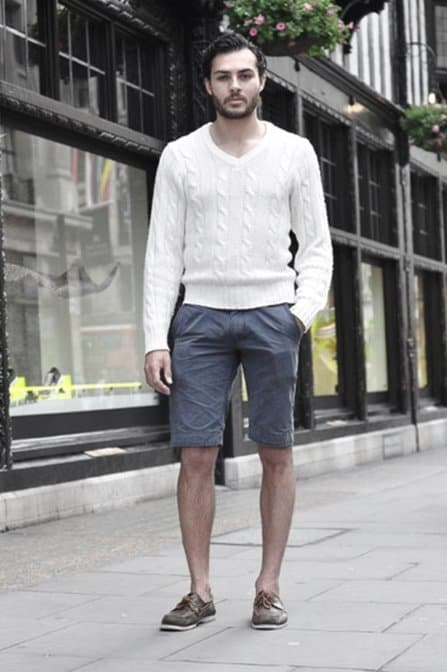 How To Wear Mens Boat Shoes Outfits White Knit Sweater With Navy Blue Shorts