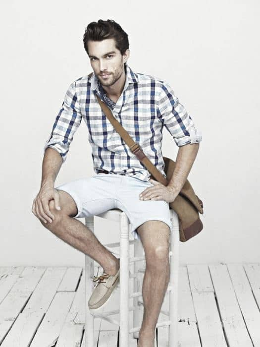 How To Wear Mens Clothing Boat Shoes Outfits Plaid Shirt With White Shorts