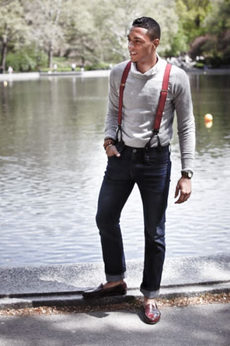 How To Wear Red Suspenders With Jeans Outfits Male Style Ideas
