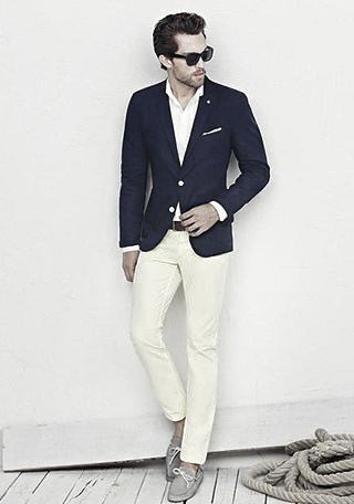 How Wear Boat Shoes Great Outfits Styles For Men Navy Blazer With White Pants
