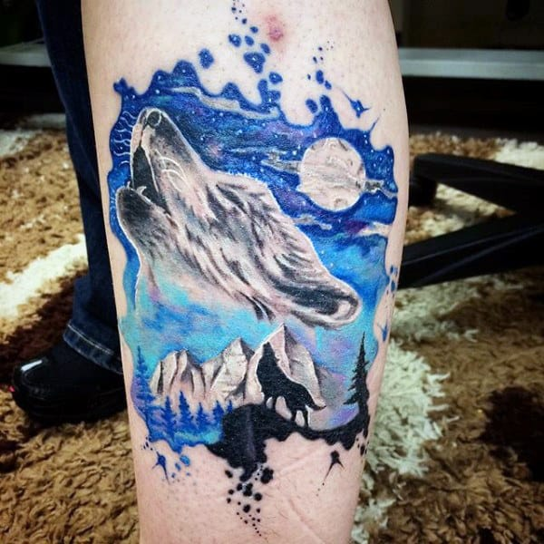 Howling Fox In Moonlight Watercolor Tattoo On Calves For Men