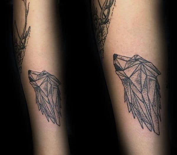 Howling Geometric Wolf Small Guys Tattoo Ideas