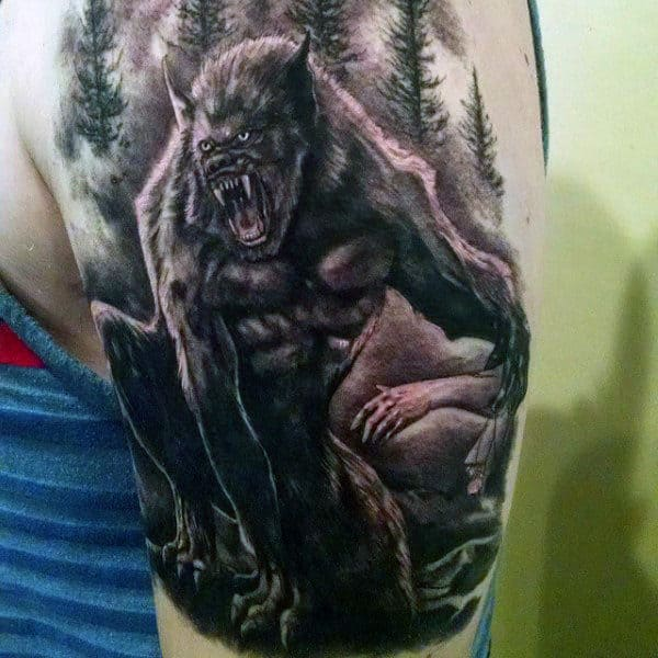 Howling Werewolf Tattoo Mens Upper Arms