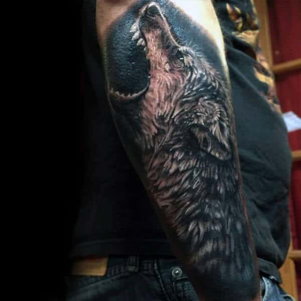 Howling Wolf Outer Forearm Realistic Tattoo Ideas For Men