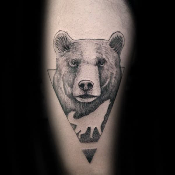 Howling Wolf With Bear Mens Geometrical Leg Tattoo Ideas Negative Space Design