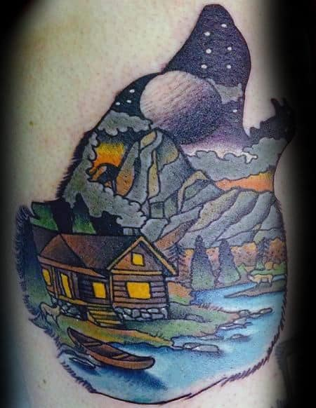 Howling Wolf With Cabin Mens Nature Arm Tattoo
