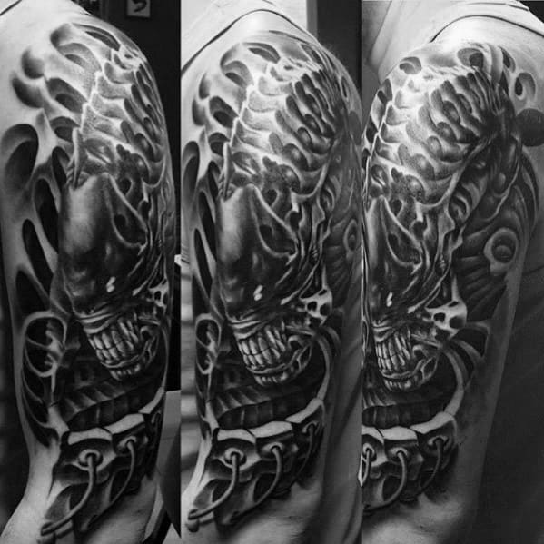 Alien Tattoos Designs Ideas And Meaning: 50 Hr Giger Tattoo Designs For Men