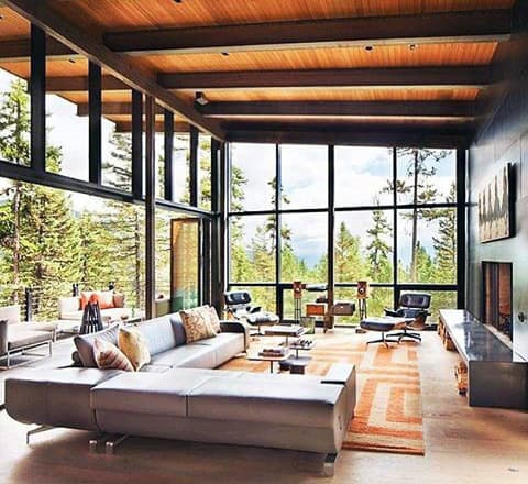 Huge Bachelor Pad Living Room With Floor To Ceiling Windows