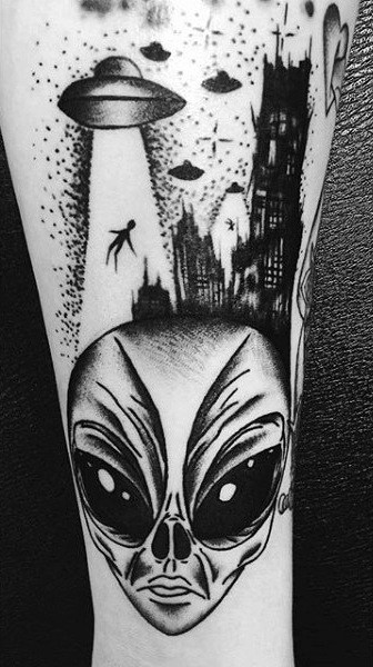 Huge Dark Eyed Alien And Ufo Tattoo Male Arms